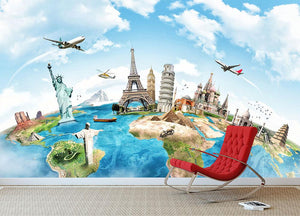 Travel the world Wall Mural Wallpaper - Canvas Art Rocks - 2