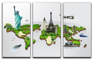 Travel the world concept 3 Split Panel Canvas Print - Canvas Art Rocks - 1