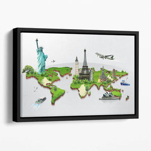 Travel the world concept Floating Framed Canvas