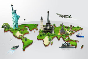 Travel the world concept Wall Mural Wallpaper - Canvas Art Rocks - 1