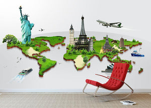 Travel the world concept Wall Mural Wallpaper - Canvas Art Rocks - 2