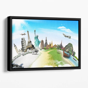 Travel the world monument Floating Framed Canvas