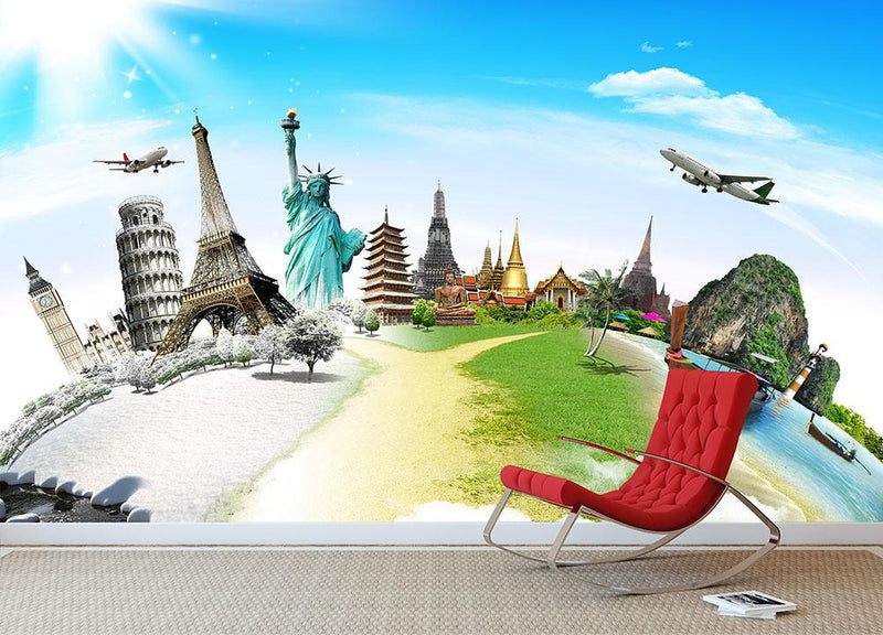 Travel the world monument Wall Mural Wallpaper - Canvas Art Rocks - 2