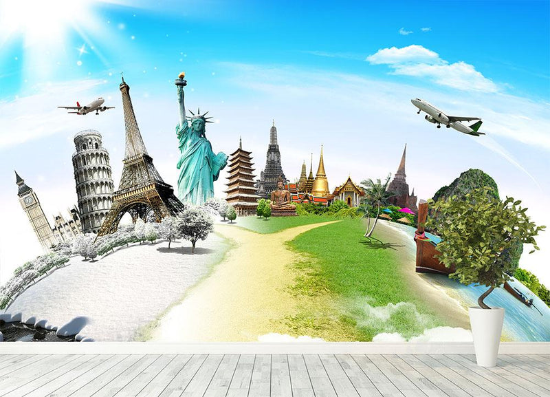 Travel the world monument Wall Mural Wallpaper - Canvas Art Rocks - 4