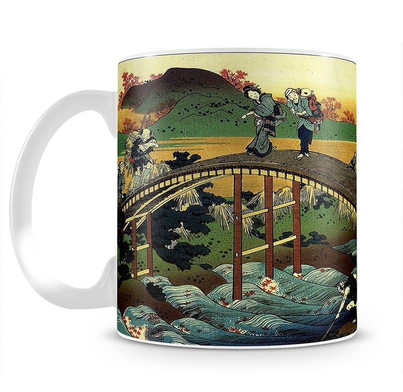 Travellers on the bridge near the waterfall of Ono by Hokusai Mug - Canvas Art Rocks - 2