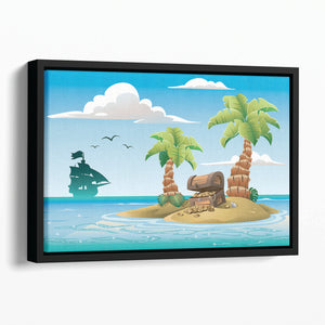 Treasure chest on the unhabited tropical island Floating Framed Canvas