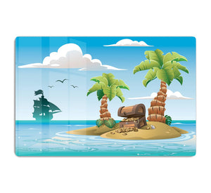 Treasure chest on the unhabited tropical island HD Metal Print