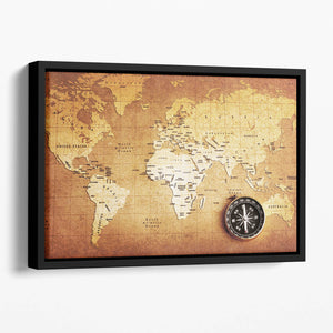 Treasure map background Floating Framed Canvas