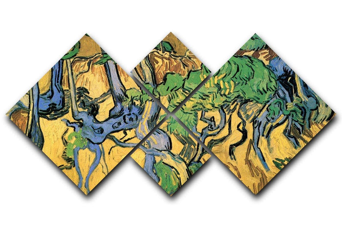 Tree Roots and Trunks by Van Gogh 4 Square Multi Panel Canvas
