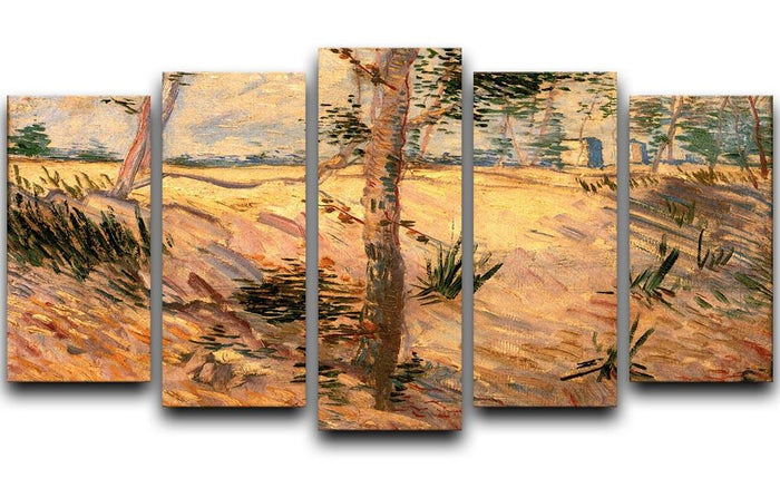 Trees in a Field on a Sunny Day by Van Gogh 5 Split Panel Canvas