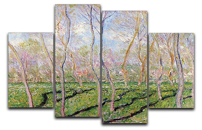 Trees in winter look at Bennecourt by Monet 4 Split Panel Canvas