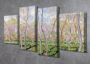 Trees in winter look at Bennecourt by Monet 4 Split Panel Canvas - Canvas Art Rocks - 2