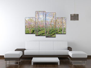 Trees in winter look at Bennecourt by Monet 4 Split Panel Canvas - Canvas Art Rocks - 3