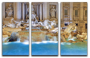 Trevi Fountain Rome 3 Split Panel Canvas Print - Canvas Art Rocks - 1