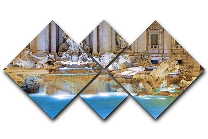 Trevi Fountain Rome 4 Square Multi Panel Canvas