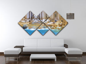 Trevi Fountain Rome 4 Square Multi Panel Canvas  - Canvas Art Rocks - 3