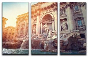 Trevi Fountain in Rome Italy 3 Split Panel Canvas Print - Canvas Art Rocks - 1