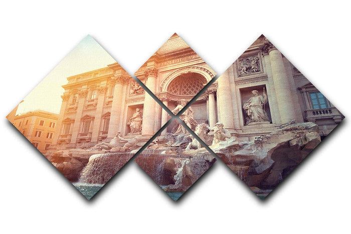 Trevi Fountain in Rome Italy 4 Square Multi Panel Canvas