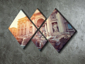 Trevi Fountain in Rome Italy 4 Square Multi Panel Canvas  - Canvas Art Rocks - 2