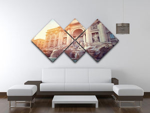 Trevi Fountain in Rome Italy 4 Square Multi Panel Canvas  - Canvas Art Rocks - 3