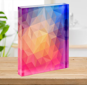 Triangles pattern of geometric shapes Acrylic Block - Canvas Art Rocks - 2