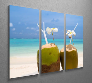 Tropical Coconut Cocktail 3 Split Panel Canvas Print - Canvas Art Rocks - 2