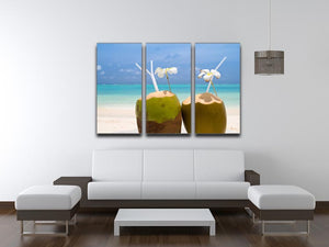 Tropical Coconut Cocktail 3 Split Panel Canvas Print - Canvas Art Rocks - 3