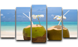 Tropical Coconut Cocktail 5 Split Panel Canvas - Canvas Art Rocks - 1