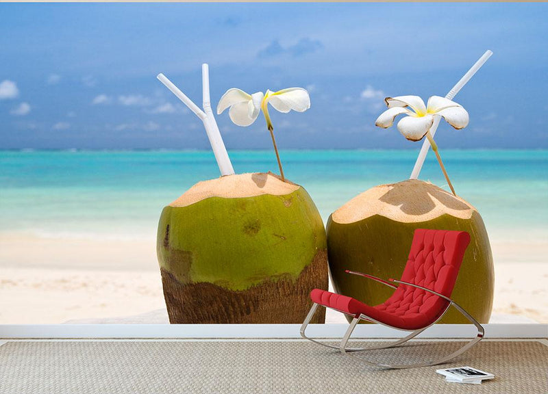 Tropical Coconut Cocktail Wall Mural Wallpaper - Canvas Art Rocks - 1