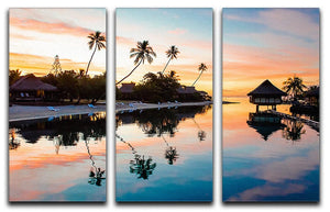 Tropical Sunset at Moorea 3 Split Panel Canvas Print - Canvas Art Rocks - 1