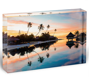 Tropical Sunset at Moorea Acrylic Block - Canvas Art Rocks - 1