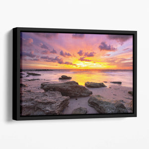 Tropical beach at beautiful sunset Floating Framed Canvas