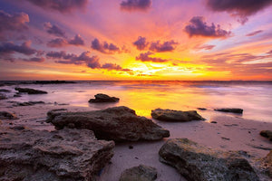 Tropical beach at beautiful sunset Wall Mural Wallpaper - Canvas Art Rocks - 1