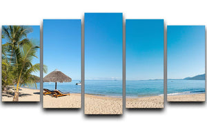 Tropical beach panorama with deckchairs 5 Split Panel Canvas  - Canvas Art Rocks - 1