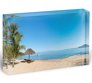 Tropical beach panorama with deckchairs Acrylic Block - Canvas Art Rocks - 1