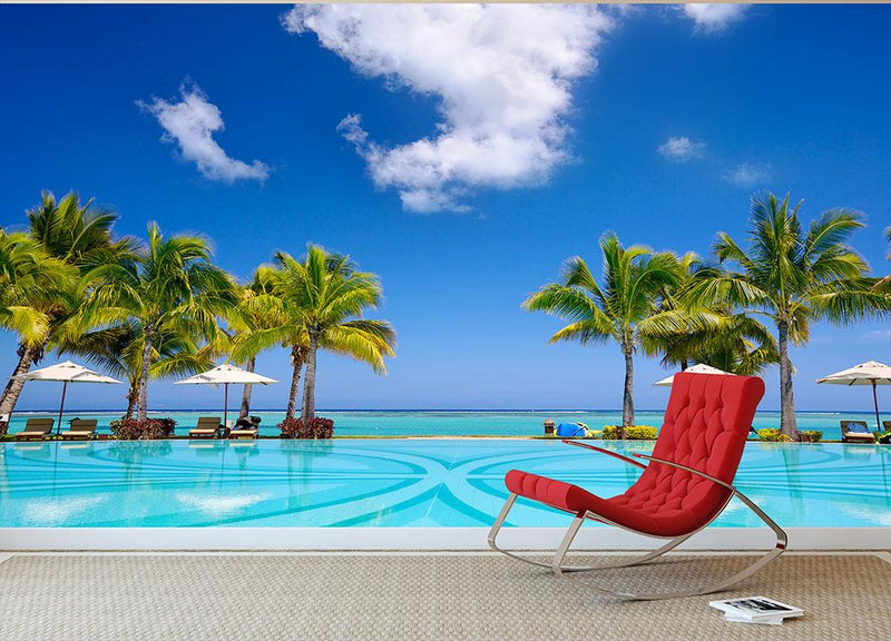 Tropical beach resort with lounge chairs Wall Mural Wallpaper - Canvas Art Rocks - 1