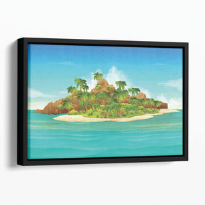 Tropical island vector Floating Framed Canvas