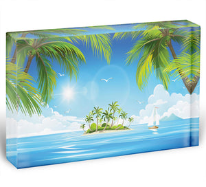 Tropical island with palm trees Acrylic Block - Canvas Art Rocks - 1