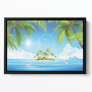 Tropical island with palm trees Floating Framed Canvas