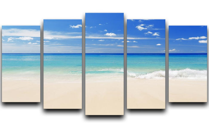 Tropical white sand beach and blue sky 5 Split Panel Canvas