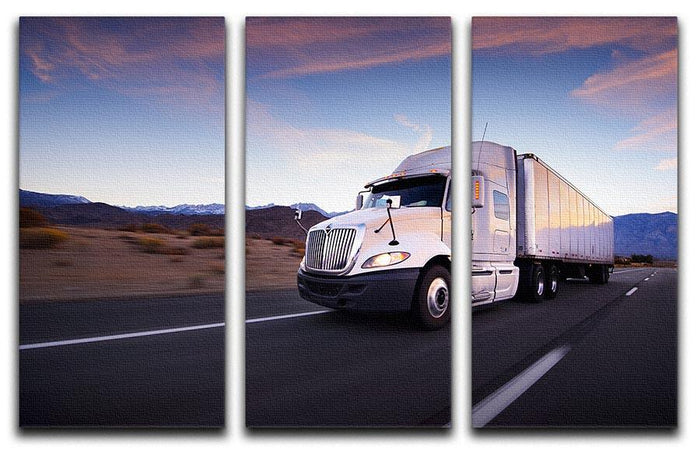Truck and highway at sunset 3 Split Panel Canvas Print