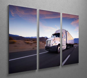 Truck and highway at sunset 3 Split Panel Canvas Print - Canvas Art Rocks - 2