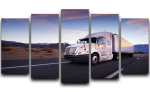 Truck and highway at sunset 5 Split Panel Canvas  - Canvas Art Rocks - 1