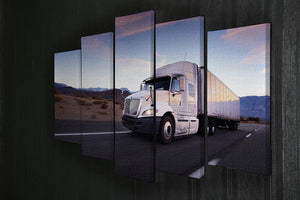 Truck and highway at sunset 5 Split Panel Canvas  - Canvas Art Rocks - 2