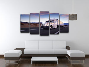 Truck and highway at sunset 5 Split Panel Canvas  - Canvas Art Rocks - 3