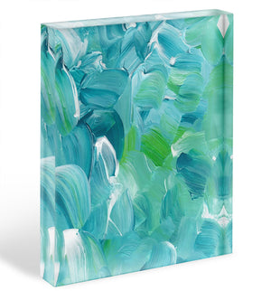 Turquoise blue oil paint Acrylic Block - Canvas Art Rocks - 1