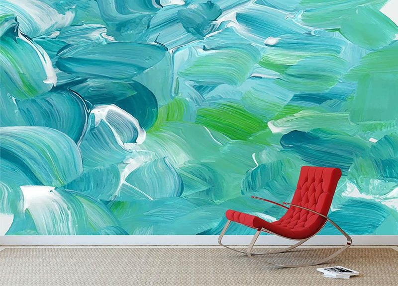 Turquoise blue oil paint Wall Mural Wallpaper - Canvas Art Rocks - 1