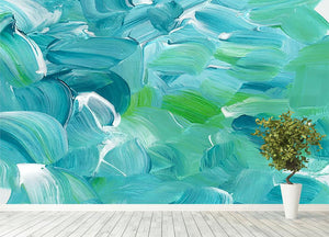 Turquoise blue oil paint Wall Mural Wallpaper - Canvas Art Rocks - 4