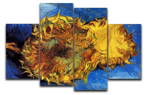 Two Cut Sunflowers 3 by Van Gogh 4 Split Panel Canvas  - Canvas Art Rocks - 1