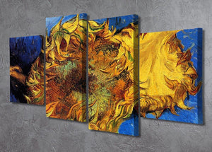 Two Cut Sunflowers 3 by Van Gogh 4 Split Panel Canvas - Canvas Art Rocks - 2